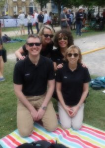 Bath Opticians waiting to play their first game at Bath Boules 2015